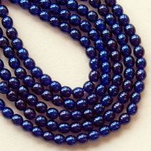 3mm Round Czech Glass Beads Transparent Pearl Navy - 100